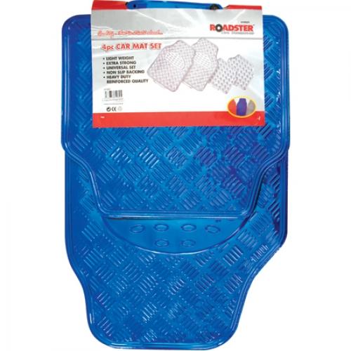 עדכון מעודכן סט שטיחים גומי דמוי אלומיניום כחול 4 חלקים לרכב | אוטו 365 GE-57