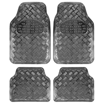 משהו רציני סט שטיחים גומי דמוי אלומיניום כחול קרבון 4 חלקים לרכב | אוטו 365 QO-26